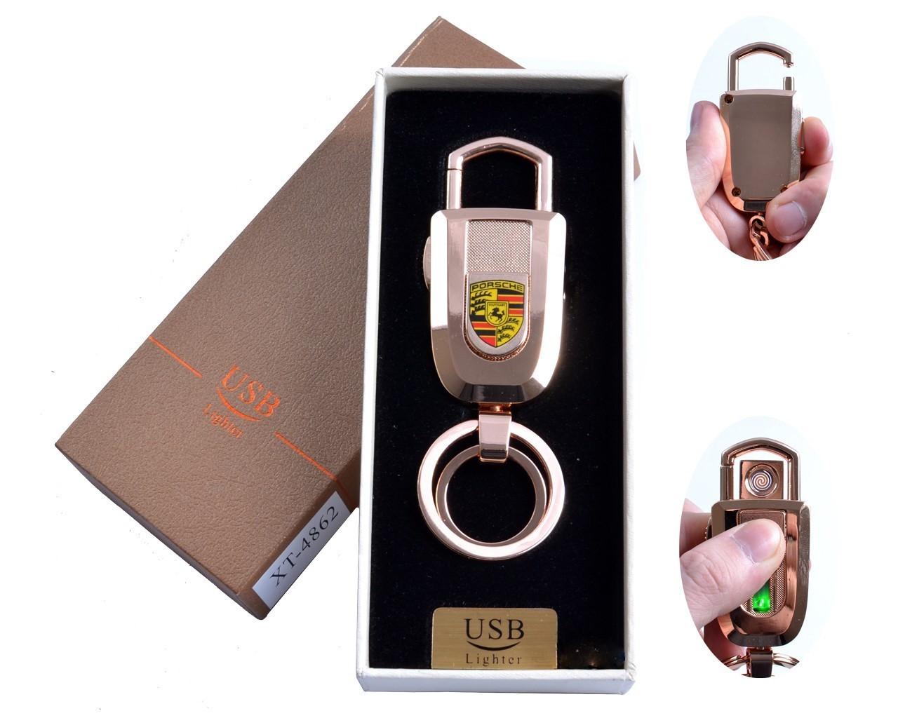 Спиральная USB зажигалка-брелок №4862-1, с подсветкой и карабином, модный девайс, прикуриваем без проблем