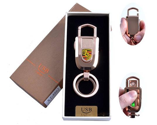 Спиральная USB зажигалка-брелок №4862-1, с подсветкой и карабином, модный девайс, прикуриваем без проблем, фото 2
