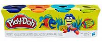 Набор пластилина 4 баночки (синий, оранжевый, бирюзовый, желтый), Play-Doh