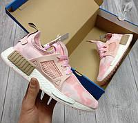 Женские кроссовки adidas NMD, цвет - нежно розовый, материал - плотная сетка+текстиль, подошва - пенка