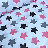 Бязь польская с большими звездами кораллового, серого и черного цвета на белом фоне №605