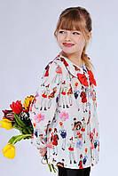 Красивая детская блуза с оригинальным принтом и бантом