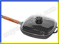 Чугунная сковорода гриль с крышкой