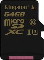 Карта памяти kingston 64gb microsdxc c10 uhs-i u3 r90/w45mb/s 4k + sd адаптер