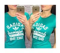 """Футболка женская """"Adidas since 1949"""", бирюзовая адидас, фото 1"""