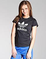 Футболка женская Adidas, чёрная адидас