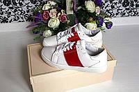 Женские кеды копия известного бренда, белые с красной полоской р.36,37,38,39,40,41