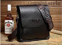 Стильная брендовая мужская кожаная сумка Polo Топ Продаж! 2 Цвета! коричневый