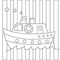 "Холст с контуром ""Кораблик"" 20*20 с крас."