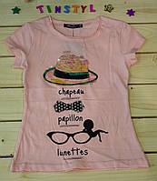Модная футболка на девочку розовая Очки розовая   рост 110-128