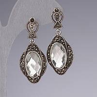 Серьги с белыми зеркальными кристаллами 4,5см