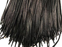 Шнурки для обуви вощеные (90см) плоские, цвет черный, Ø 6мм