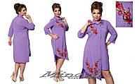 Платье рубашка с вышивкой 48-56 разные цвета