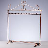 Подставка для украшений Вешалка с крючками медная  30х30см