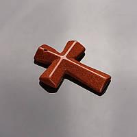 """Кулон Крест каменный Авантюрин (иск.)  """"золотой песок"""" (им.)   4,5х3см"""