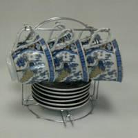 Сервиз чайный на стойке с синим рисунком  ОЛЛАФ