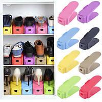 Двойная подставка под обувь пластмассовая, двойная стойка для обуви, фото 1