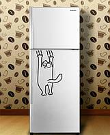 Виниловая наклейка на холодильник - тянется коте