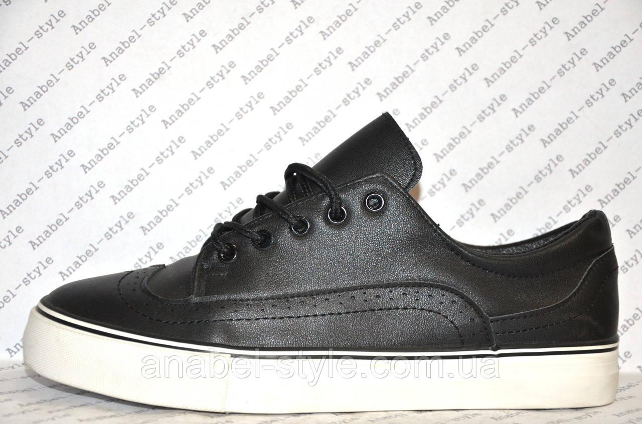 Кеды женские черного цвета на шнуровке