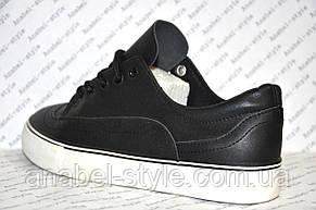 Кеды женские черного цвета на шнуровке, фото 3