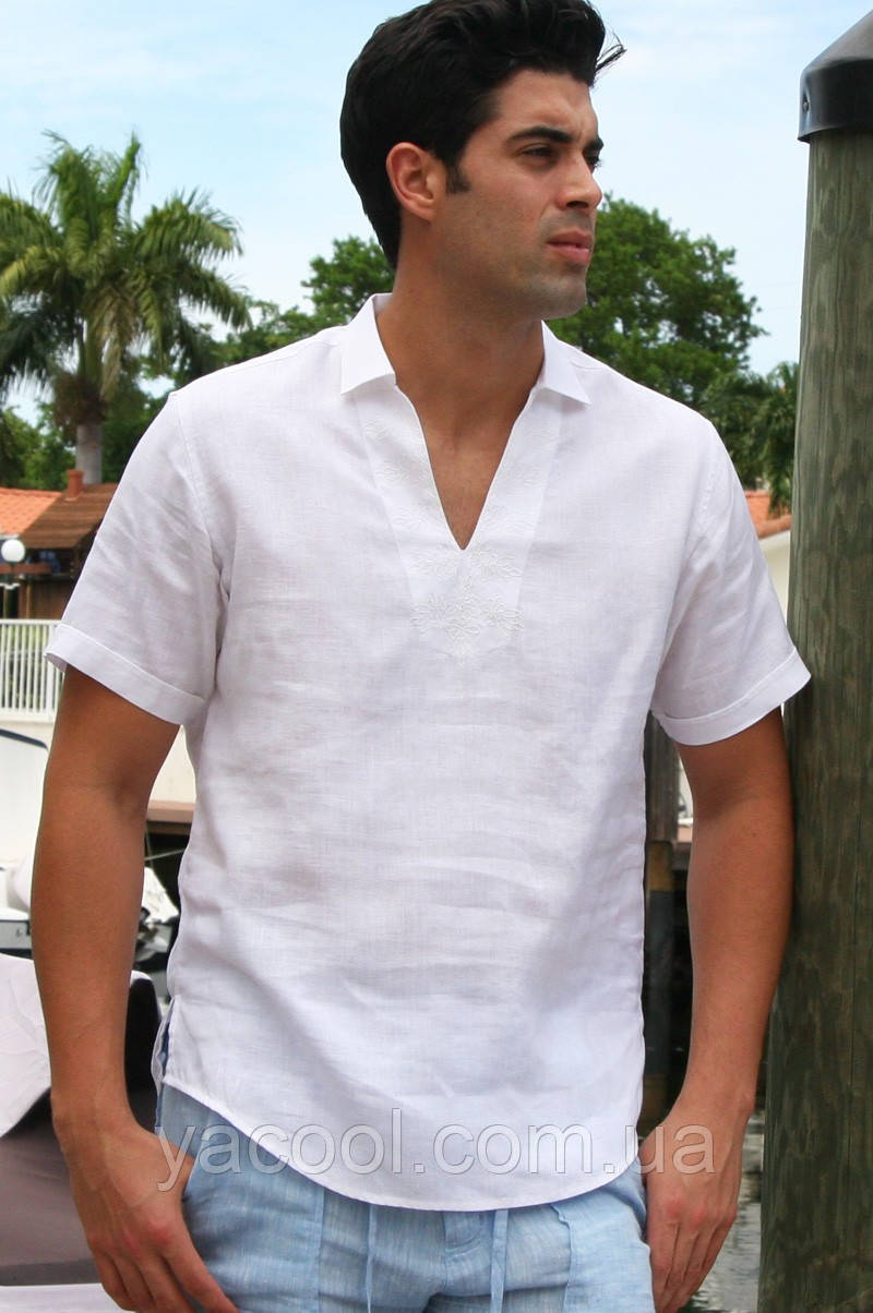 9b73a12611a Мужская рубашка без пуговиц через голову из натурального льна пляжная  городская