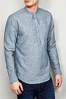 Рубаха из голубого джинсового льна с воротом стойкой летняя тонкая