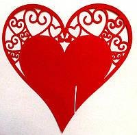Декор картон Сердце в бокал 80X80 мм