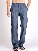 Легкие мужские джинсы из льна. Натуральные льняные брюки лето р 42-74+, фото 1