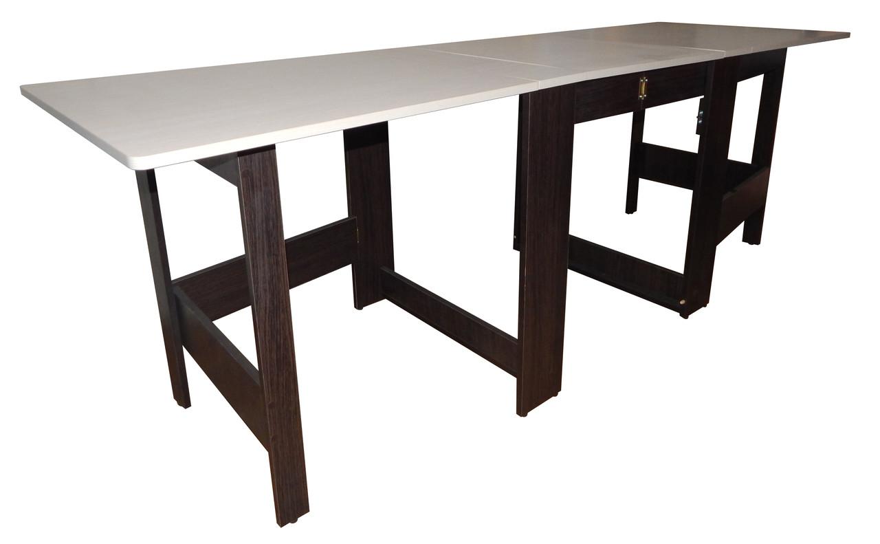 """Раскладной стол книжка трансформер """"Гранд-70"""" ск-04: дуб молочный+дуб венге"""