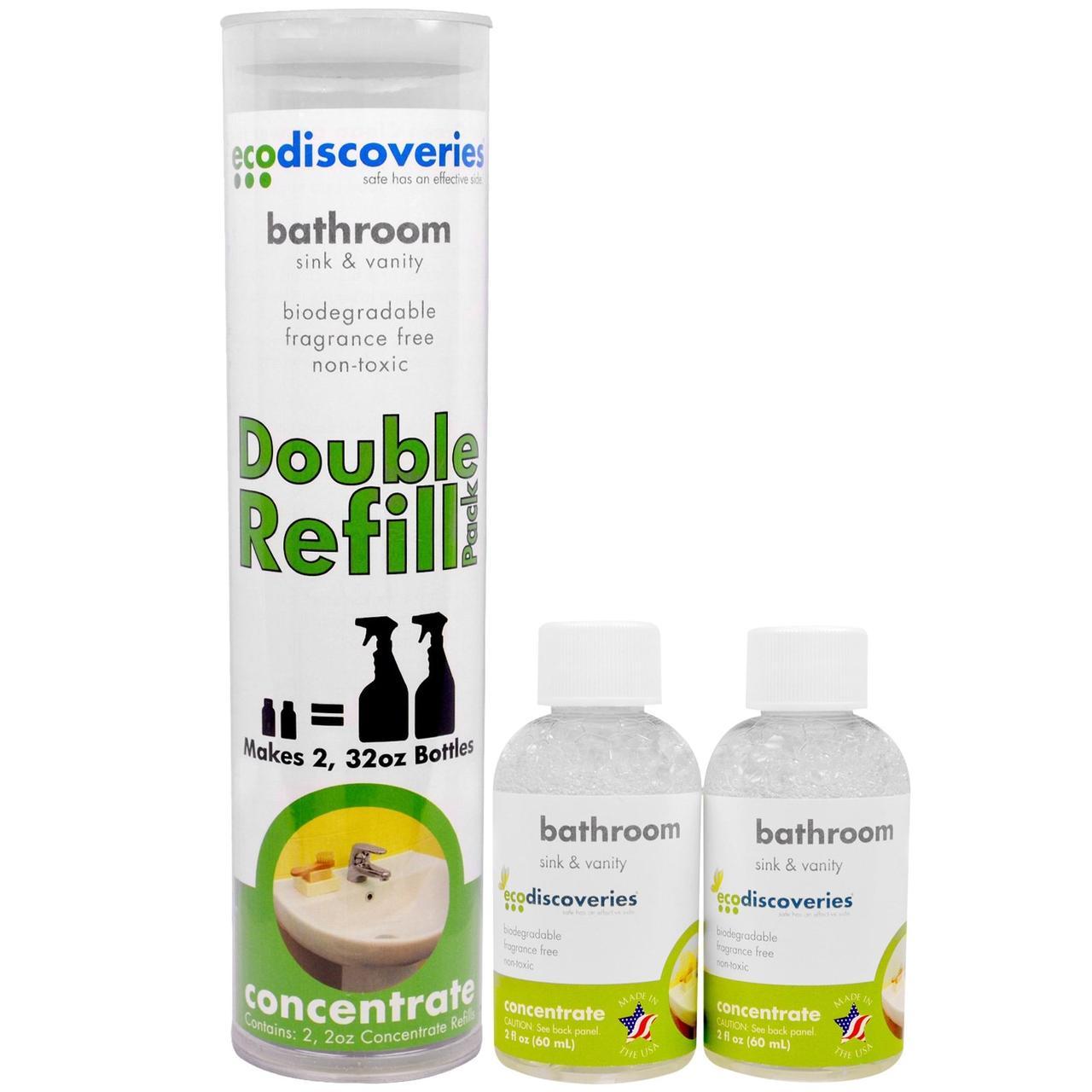 EcoDiscoveries, Подвійний пакет поповнення, засіб для чищення ванної кімнати, раковина і туалетний столик, за 2 рідин та си. унц. (60 мл) кожен