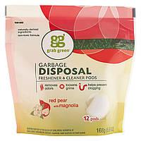 GrabGreen, Освежитель и очиститель для измельчителя мусора, красная груша и магнолия, 12 таблеток, 5,9 унции (168 г)