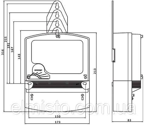 Габаритный чертеж счетчика электроэнергии НIК 2303 АРП2