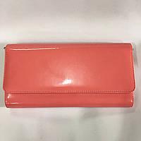 Женская сумка клатч Bars 1069 лаковый большой коралловый 29см х 16см х 4см