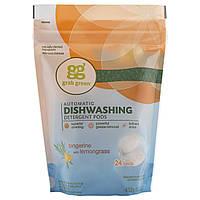 GrabGreen, Пакетики с моющим средством для автоматических посудомоечных машин, с запахом мандарина и лимонной травы, на 24 применения, 15.2 унции (432
