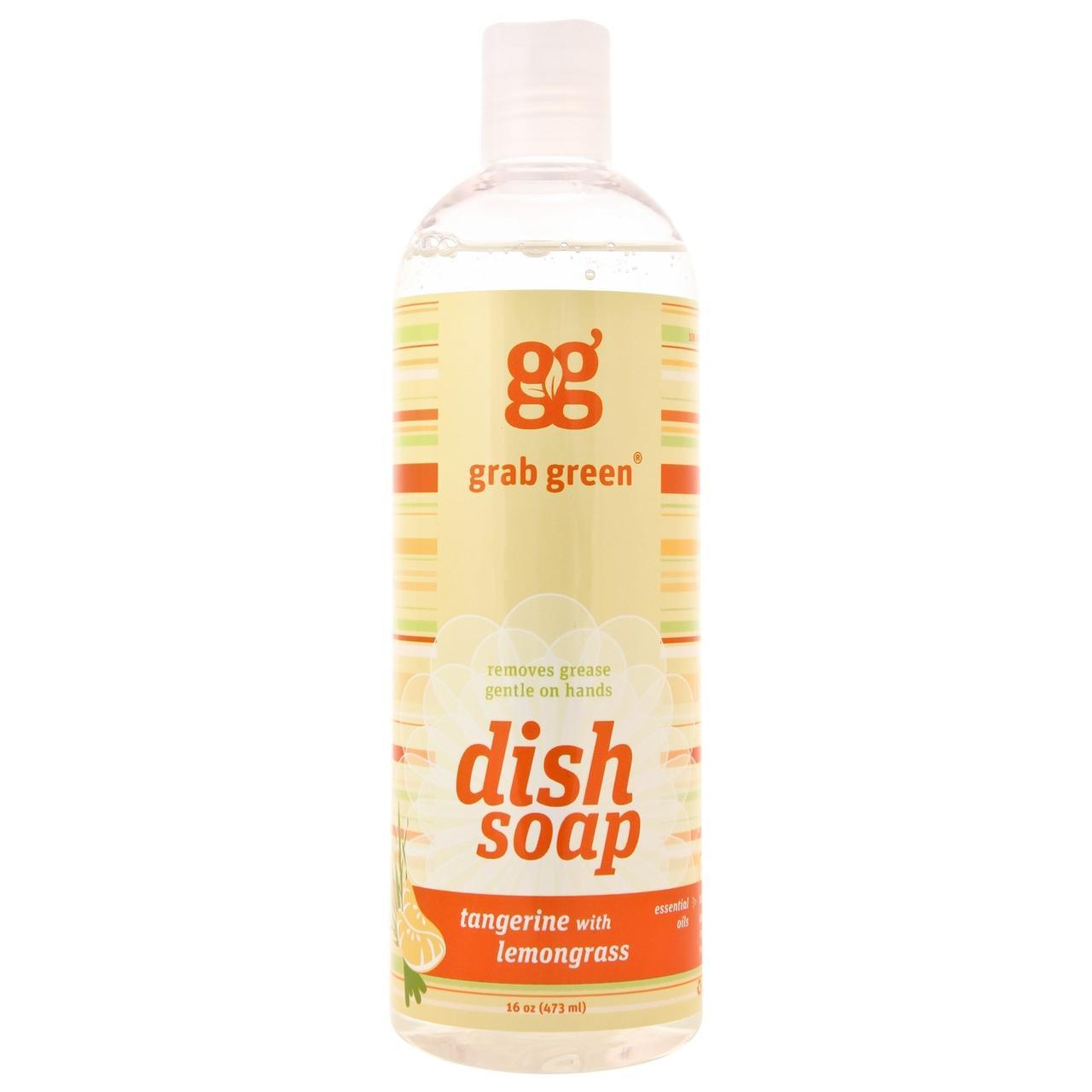 GrabGreen, Засіб для миття посуду, мандарин і лемонграс. без ароматизаторів, 16 унцій (473 мл)