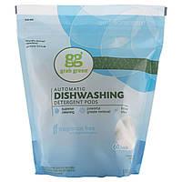 GrabGreen, Моющее средство для посудомоечных машин, без ароматизаторов, 60 загрузок, 2 фунта, 4 унции (1080 г)