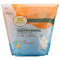 GrabGreen, Подушечки с моющим средством для посудомоечной машины, мандарин и лемонграссс, 132 подушечек, 5 фунтов, 4 унции (2376 г)