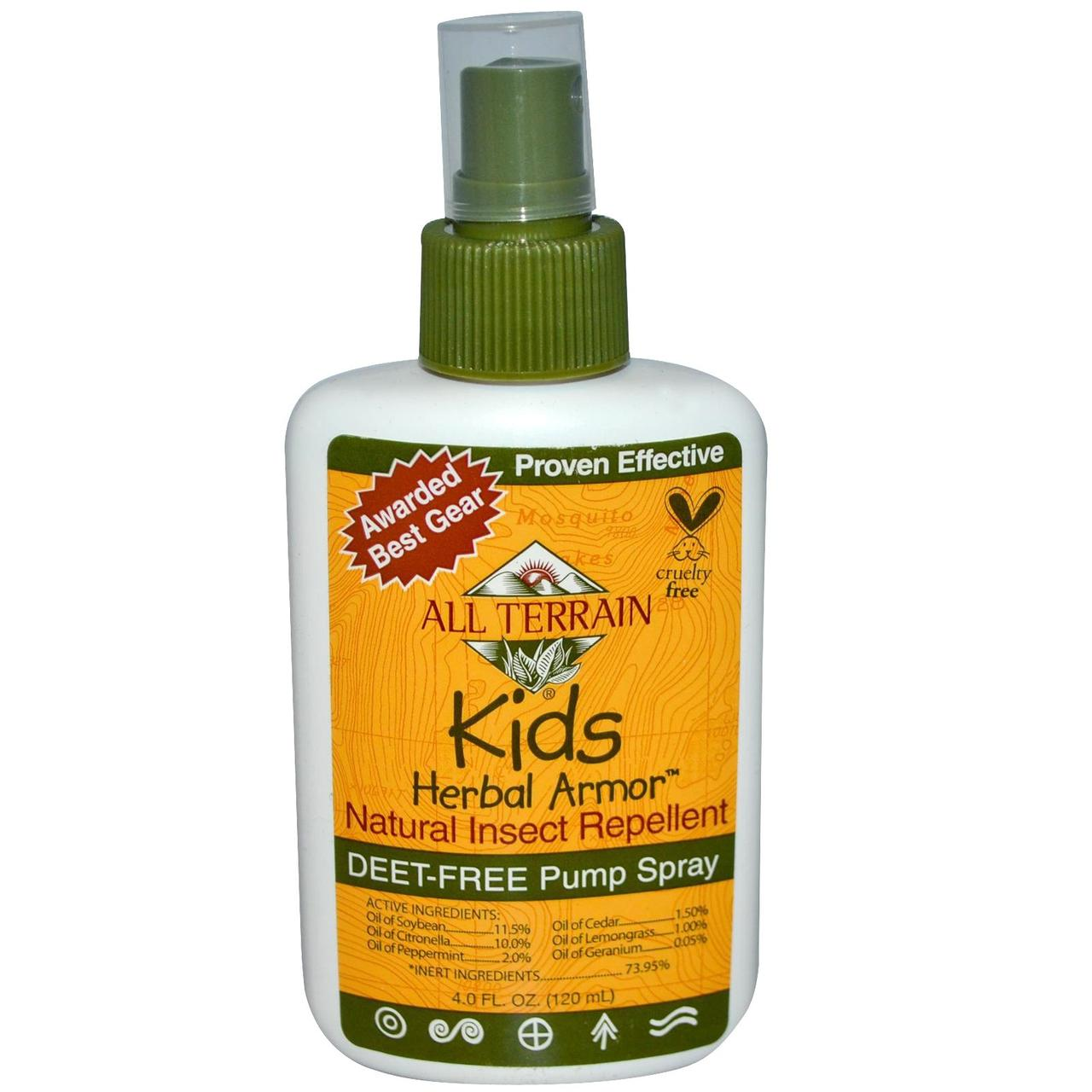 All Terrain, Растительное защитное средство для детей, Натуральное средство от насекомых, 4 жидких унции (120 мл) - Интернет-магазин для здоровой жизни в Киеве