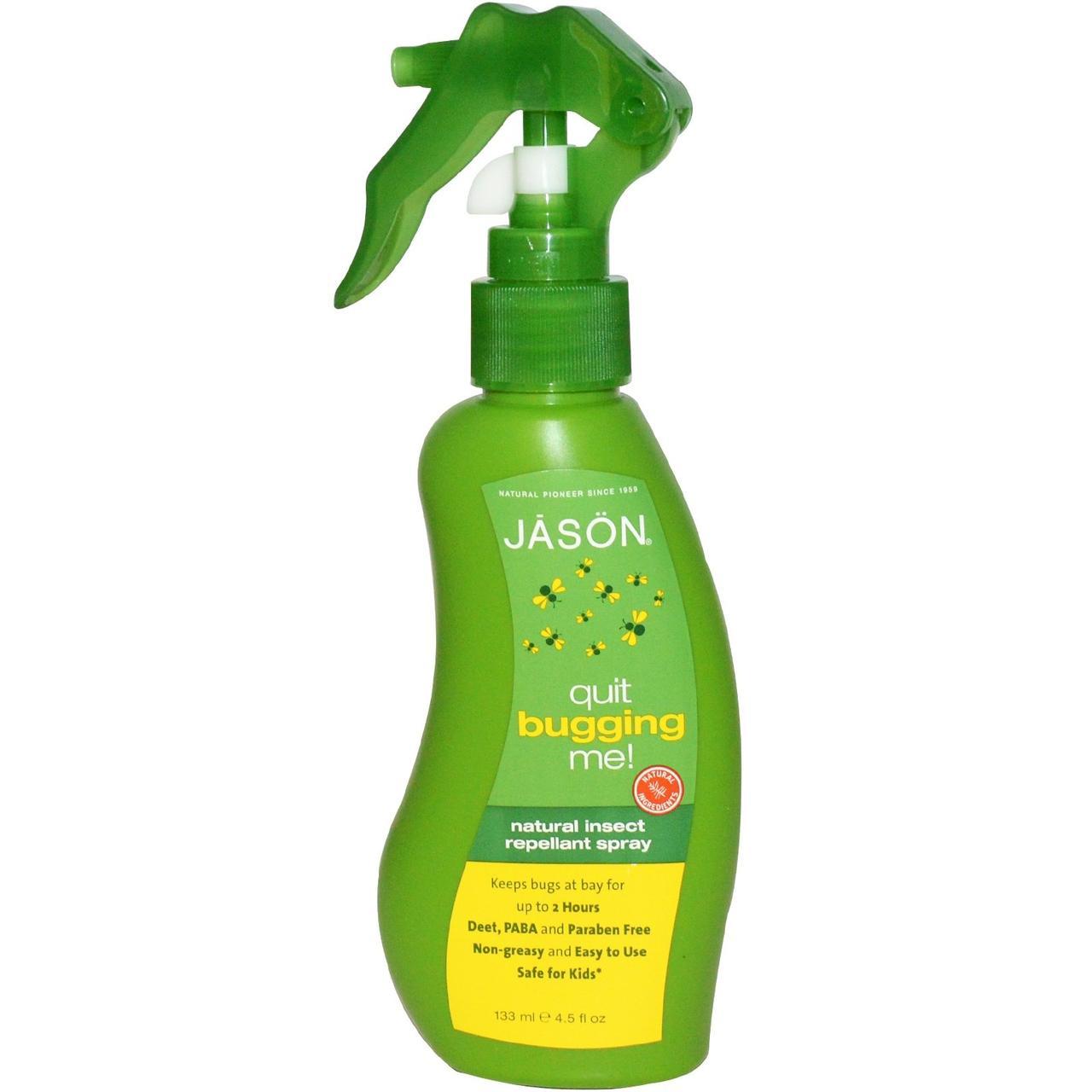 Jason Natural, Quit Bugging Me!, натуральный спрей-репеллент от насекомых, 4,5 жидкие унции (133 мл)