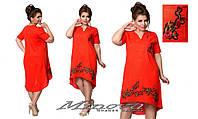 Льняное платье с вышивкой 48-56 разные цвета