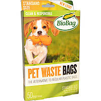 Biobag, Пакеты для уборки за питомцами, 50 пакетов, 11,4 дюйма x 7,9 дюймов x 0,92 мил (32 см x 20 см x 23 мкм)