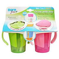Born Free, Чашка с соломинкой Растем вместе для обучения питью, зеленая и розовая, 2 чашки по 180 мл