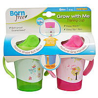 Born Free, Тренировочная чашка, растущая с ребенком, зеленая и розовая, набор из 2-х чашек, 6 унций каждая