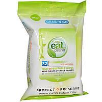Eat Cleaner, Салфетки для очищения фруктов и овощей Grab N Go, 32 салфетки, каждая 7 на 8 дюймов