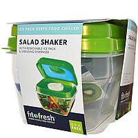 Fit & Fresh, Шейкер для салата с отдельным контейнером для льда и дозатором для соуса, из 5 частей