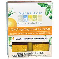 Aura Cacia, Запасной блок для электрического ароматерапевтического освежителя воздуха, бодрящий бергамот и апельсин, 0,47 жидких унций (14 мл)