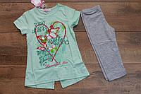 Трикотажный костюм с бриджами для девочек 3- 5 лет