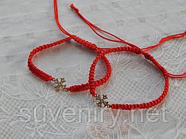 Очень красивый браслет красная нить с крестиком под золото