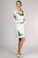 """Платье с вышивкой белое длинный рукав """"Калина"""""""