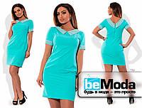 Платье с воротничком в горошек голубое